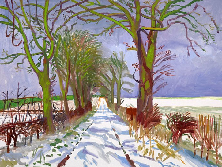 david-hockney-winter-tunnel-with-snow-march-2006
